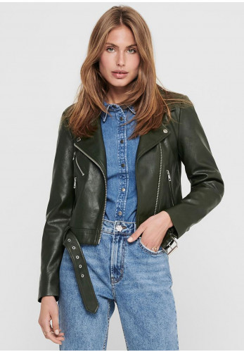Only Valerie Faux Leather Biker Jacket, Rosin Green