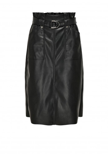 Only Alba Long Faux Leather Skirt, Black
