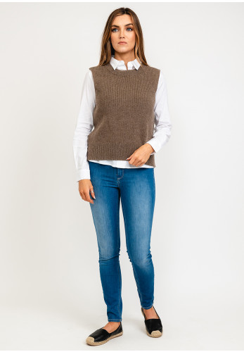 Only Paris Knitted Vest, Brown