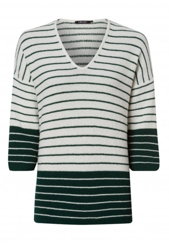 Olsen Striped V Neck Knitted Top, Green