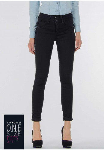 Tiffosi Womens One Size Double Up Skinny Jeans, Black