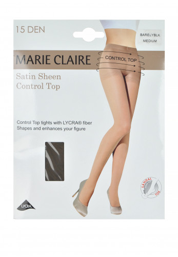 Marie Claire 15 Denier Control Top Satin Sheen Tights, Barely Black