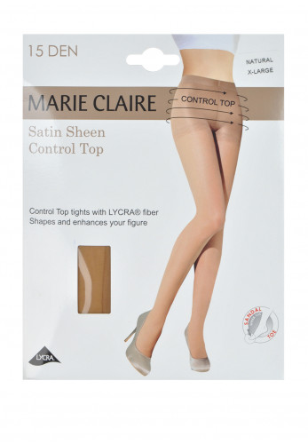 Marie Claire 15 Denier Control Top Satin Sheen Tights, Natural