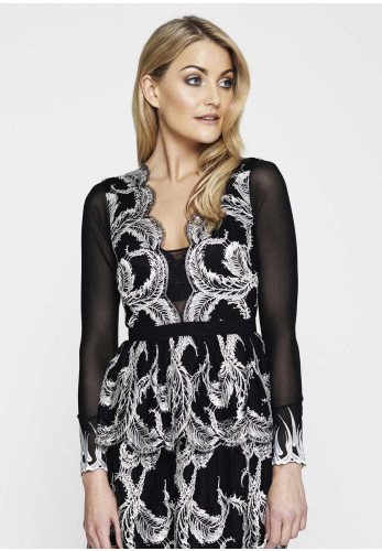 Canopi Secret Sleeves Helene Lace Trim Mesh Sleeve, Black and White