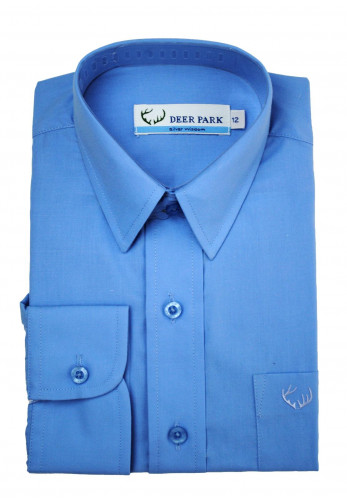 Deer Park Long Sleeve School Shirt, Blue