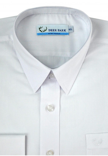 Deer Park Long Sleeve School Shirt, White