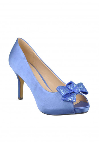 Glamour Embellished Bow Satin Peep Toe Heeled Shoes, Blue