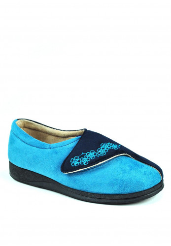 Padders Women's Hug Slippers, Navy and Teal
