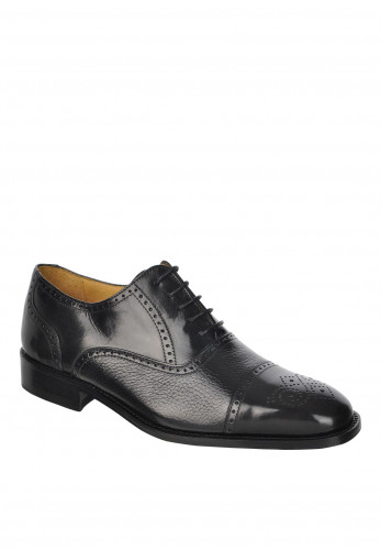 Mezlan Chelsea Leather Lace-Up Shoe, Black