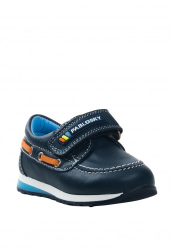 Pablosky Baby Boys Leather Velcro Loafers, Navy
