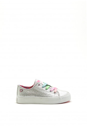 Pablosky Girls Rainbow Lace Shimmer Shoe, Silver