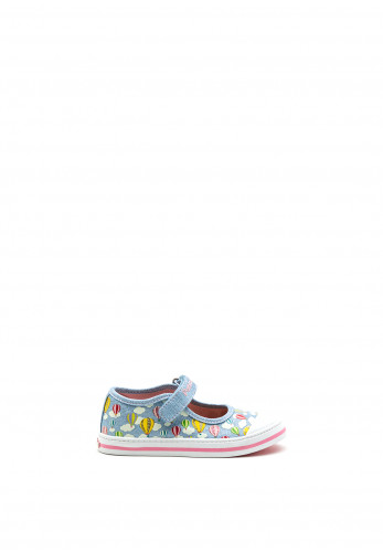 Pablosky Girls Clouds and Hot Air Balloon Canvas Shoe, Sky Blue