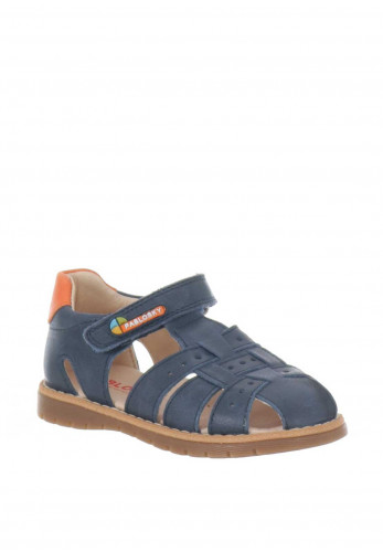 Pablosky Boys Leather Closed Toe Sandals, Navy