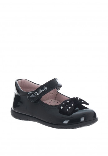 Pablosky Girls Velcro Strap Patent Bow Shoes, Black