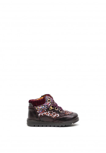 Pablosky Girls Easy Step Glitter Leopard Print Boots, Burgundy