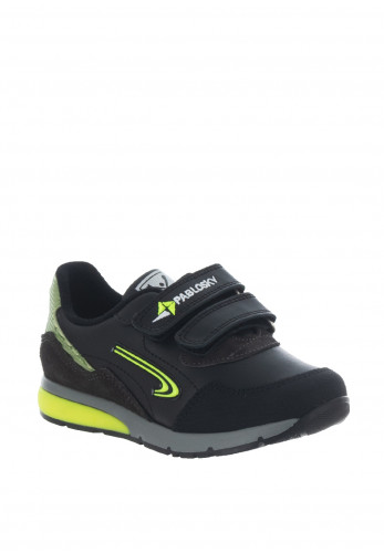 Pablosky Boys Velcro Strap School Shoes, Black & Green