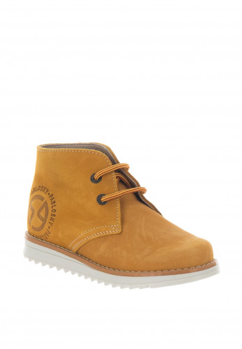 Pablosky Boys Suede Lace Up Boots, Yellow