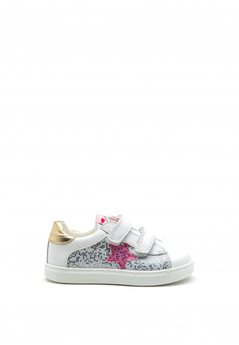 Pablosky Girls Star Sequined Trainer, White