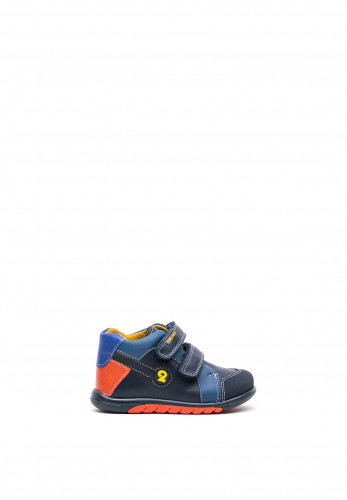 Pablosky Boys Orange Trim Double Strap High Top Trainers, Navy