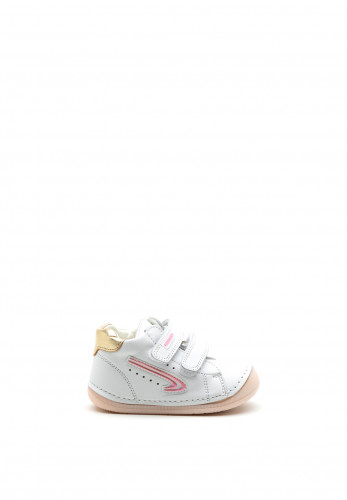 Pablosky Baby Girls Swoosh Double Strap Shoe, White