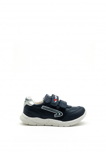 Pablosky Boys Sport Swoosh Logo Trainer, Navy and Silver
