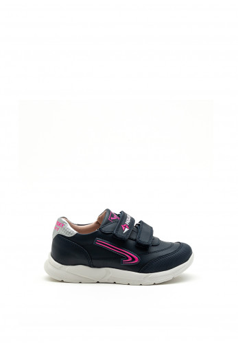 Pablosky Girls Sport Swoosh Logo Trainer, Navy and Pink