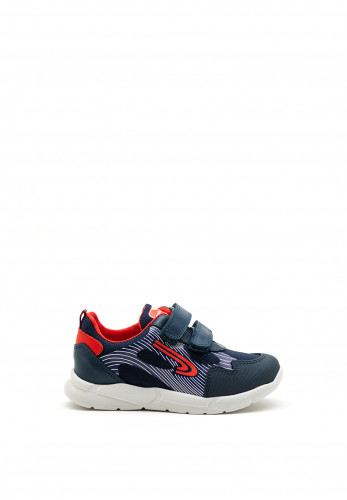 Pablosky Boys Swoosh Logo Double Strap Trainer, Navy and Red