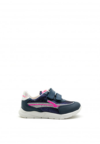 Pablosky Girls Glitter Swoosh Trainer, Navy and Pink