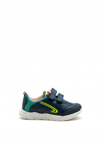 Pablosky Boys Swoosh Logo Double Strap Trainer, Navy and Green
