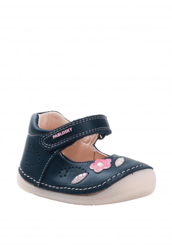 Pablosky Baby Girls Leather Velcro Strap Pre-walker Shoes, Navy