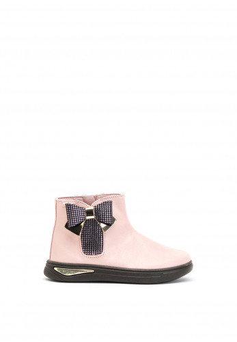 Pablosky Girls Houndstooth Bow Ankle Boots, Pink