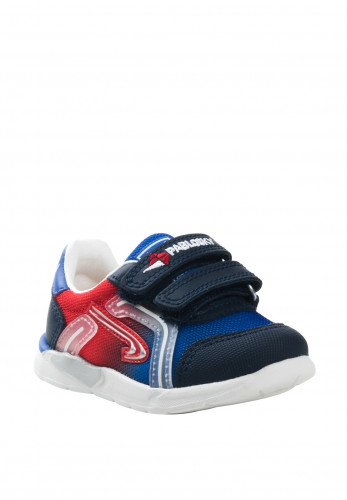 Pablosky Baby Boys Knit Velcro Strap Trainers, Navy and Red