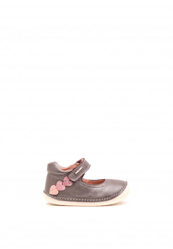 Pablosky Baby Girls Leather Heart Velcro Strap Shoes, Purple