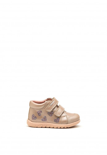 Pablosky Baby Girls Hearts Velcro Strap Boots, Gold
