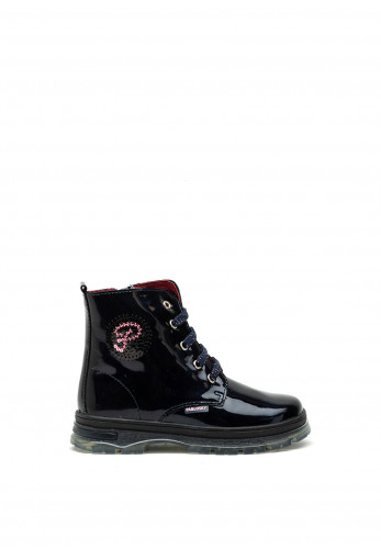 Pablosky Girls Patent Boots, Navy
