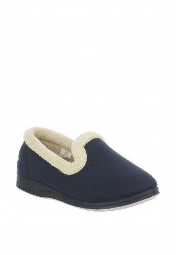 Padders Repose Faux Suede Slippers, Navy