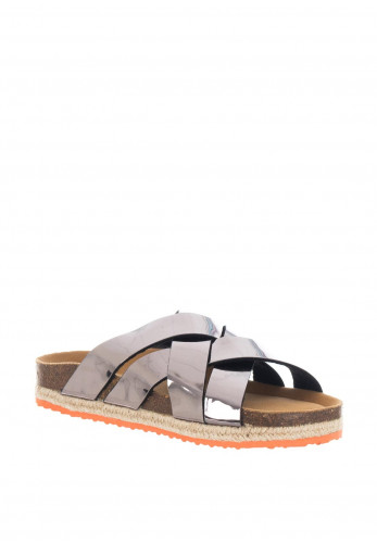 Paez Spark Metallic Slider Sandals, Pewter