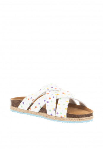 Paez Aquarela Polka Dot Slider Sandals, White