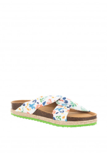 Paez Flowery Knot Slider Sandals, White