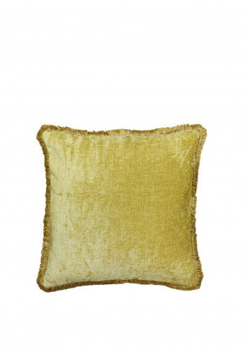 Paoletti Ashbury Fringed 50x50cm Feather Cushion, Ochre