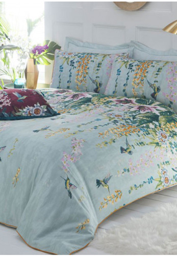 Paoletti Hanging Gardens Single Duvet Cover Set, Aqua