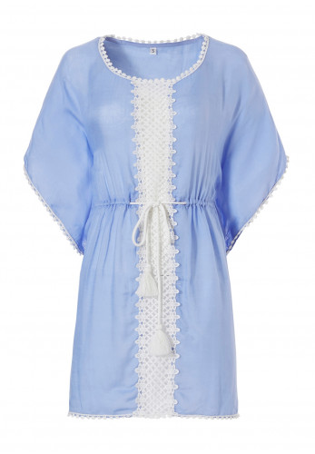 Pastunette Beach Crochet Trim Kaftan, Blue