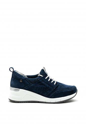 Patrizio Como Lombardy Metallic Shimmer Tongue Wedged Trainer, Navy