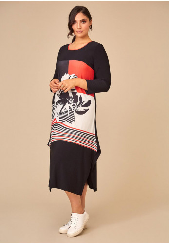 Personal Choice Fluted Flower Print Jersey Dress, Navy & Coral