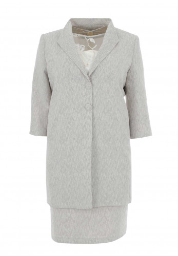 Personal Choice Lace Bodice Dress & Coat, Grey
