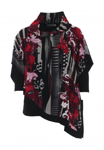 Personal Choice Printed Layered Top, Red & Black