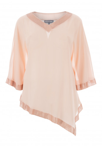 Personal Choice Sequin Chiffon Cape Top, Light Pink