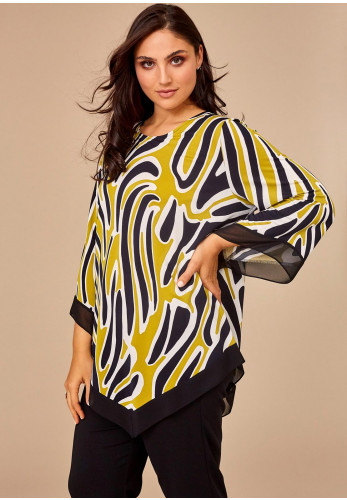 Personal Choice Abstract Print Tunic Top, Green & Black