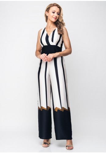 Peruzzi Striped Wide Leg Jumpsuit, Cream Multi