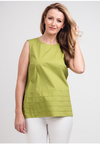 Peruzzi Stitch Trim Tunic Top, Green